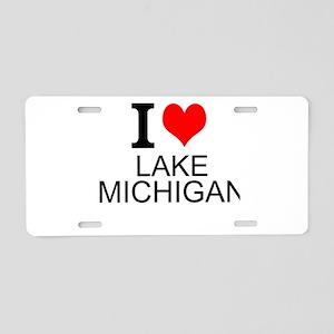 I Love Lake Michigan Aluminum License Plate
