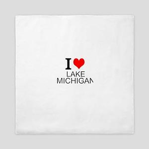 I Love Lake Michigan Queen Duvet