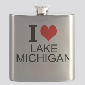 I Love Lake Michigan Flask