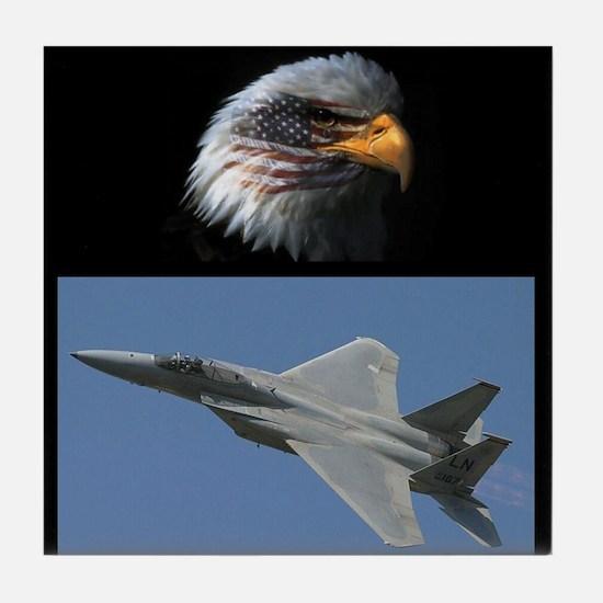 Funny Eagle flag Tile Coaster