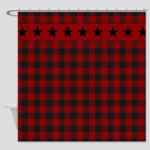Red and black plaid with stars Shower Curtain