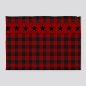 Red and black plaid with stars 5'x7'Area Rug