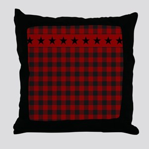 Red and black plaid with stars Throw Pillow