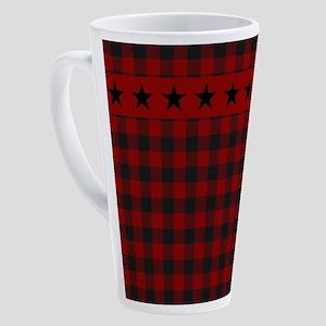 Red and black plaid with stars 17 oz Latte Mug