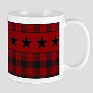 Red and black plaid with stars Mugs