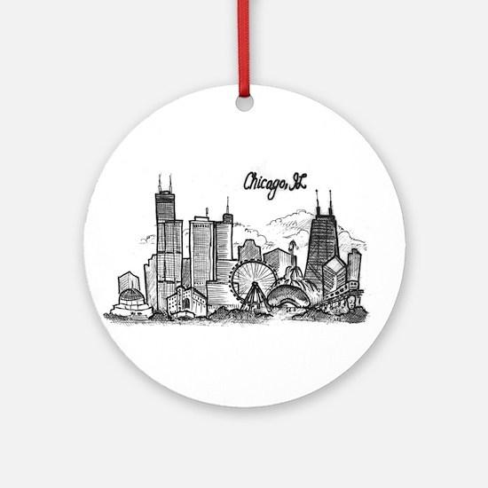 Chicago Landmarks Ink Sketch Round Ornament