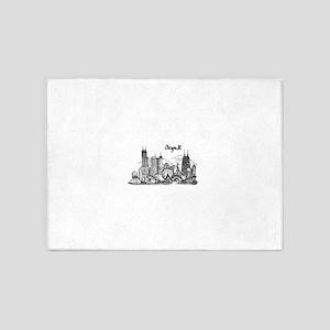 Chicago Landmarks Ink Sketch 5'x7'Area Rug