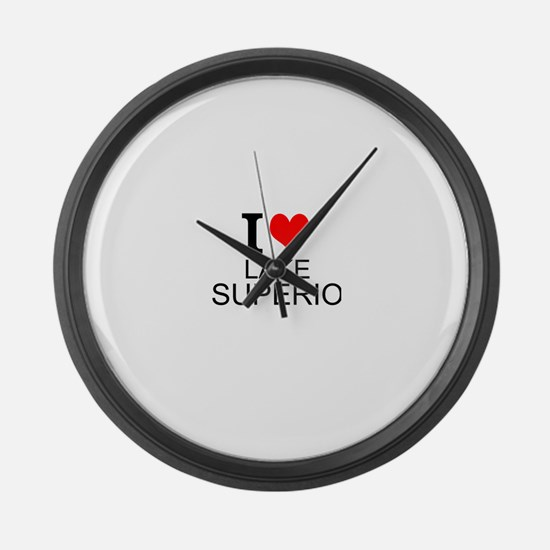 I Love Lake Superior Large Wall Clock