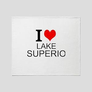 I Love Lake Superior Throw Blanket
