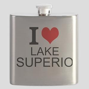 I Love Lake Superior Flask