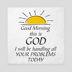 GOOD MORNING THIS IS GOD Queen Duvet
