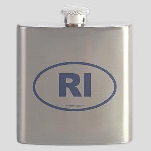 Rhode Island RI Euro Oval Flask