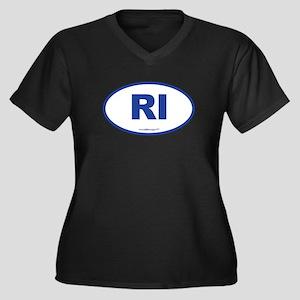 Rhode Island Women's Plus Size V-Neck Dark T-Shirt