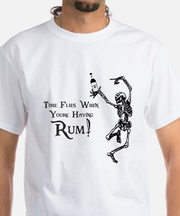 Time Flies/Having Rum White T-Shirt