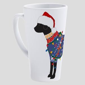 Black Lab Ugly Christmas Sweater 17 oz Latte Mug