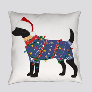 Black Lab Ugly Christmas Sweater Everyday Pillow