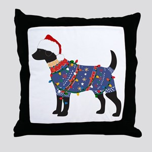Black Lab Ugly Christmas Sweater Throw Pillow