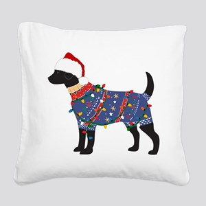 Black Lab Ugly Christmas Sweater Square Canvas Pil