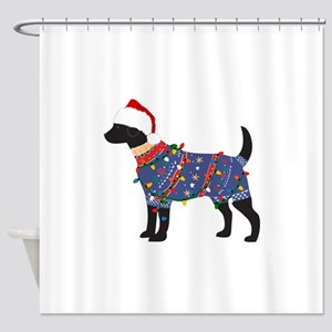 Black Lab Ugly Christmas Sweater Shower Curtain