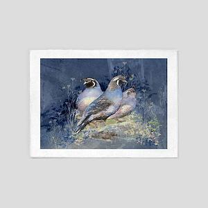 Watercolor California Quail Birds in Blue, Purple