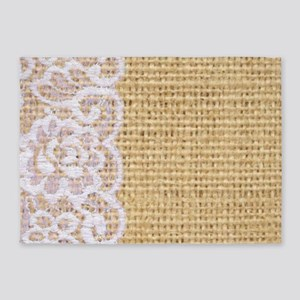 burlap and lace shabby chic 5'x7'Area Rug