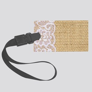 burlap and lace shabby chic Large Luggage Tag