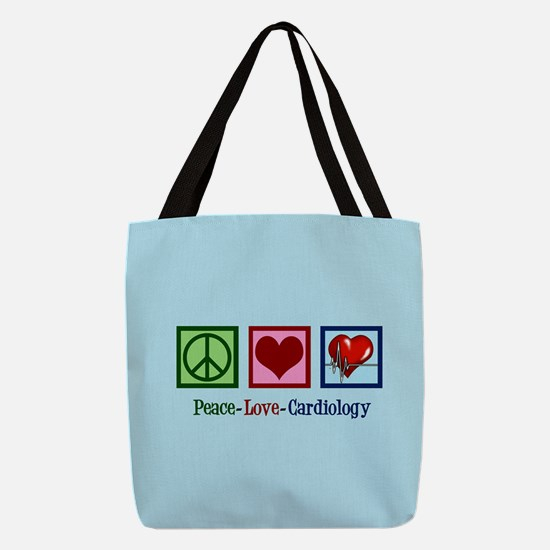 Peace Love Cardiology Polyester Tote Bag