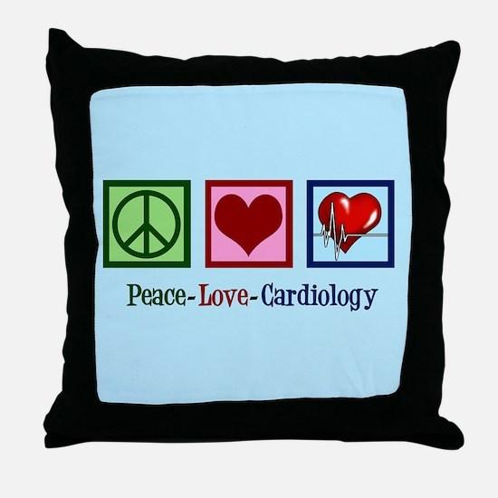 Peace Love Cardiology Throw Pillow