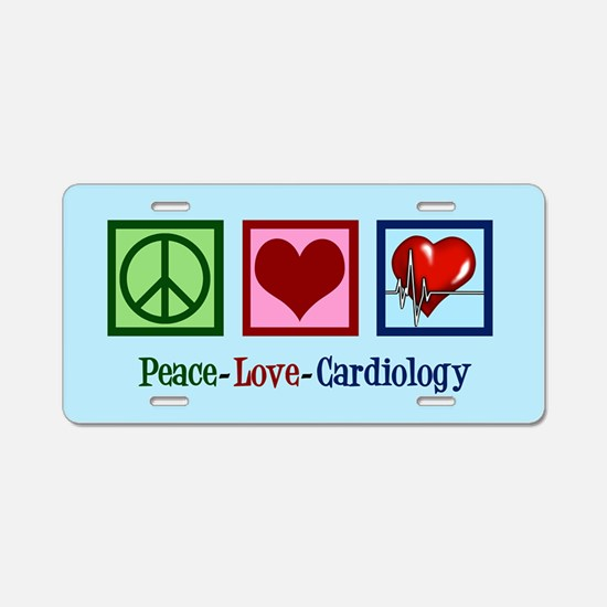Peace Love Cardiology Aluminum License Plate