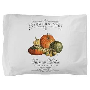 Modern vintage fall gourds and pumpkin Pillow Sham
