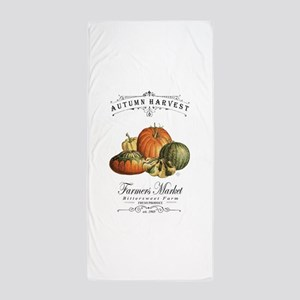 Modern vintage fall gourds and pumpkin Beach Towel