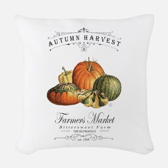 Modern vintage fall gourds and pumpkin Woven Throw