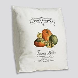 Modern vintage fall gourds and pumpkin Burlap Thro