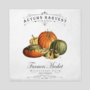 Modern vintage fall gourds and pumpkin Queen Duvet