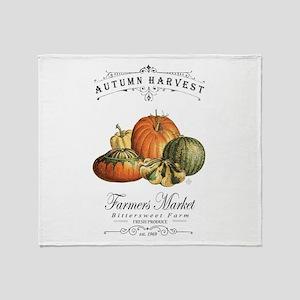 Modern vintage fall gourds and pumpkin Throw Blank