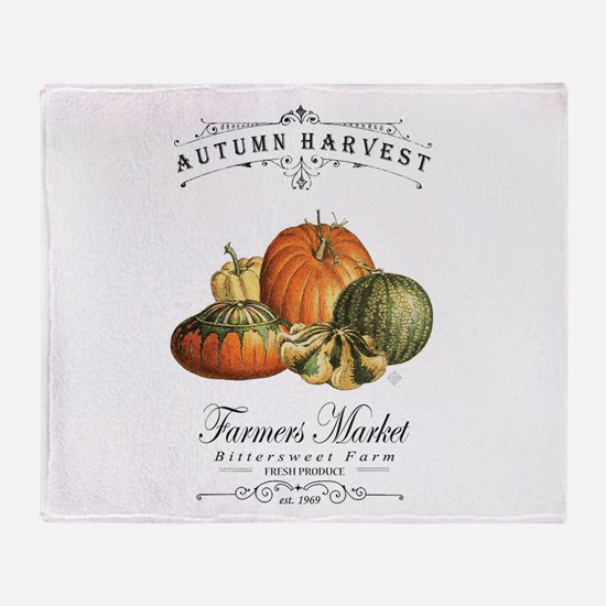 Modern vintage fall gourds and pumpkin Throw Blank