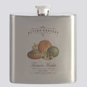 Modern vintage fall gourds and pumpkin Flask