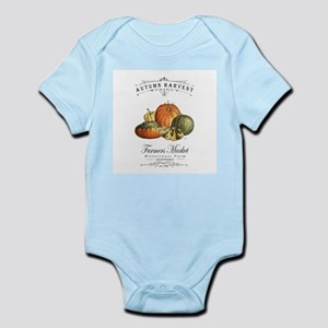 Modern vintage fall gourds and pumpkin Body Suit