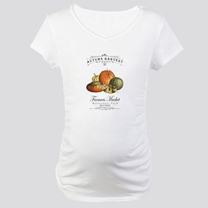 Modern vintage fall gourds and pumpkin Maternity T