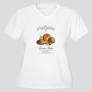 Modern vintage fall gourds and pumpkin Plus Size T