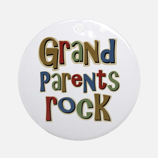 Grandparents Rock Day Holiday Ornament (Round)