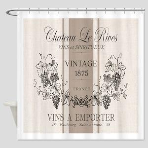 Modern vintage French wine grain sac Shower Curtai