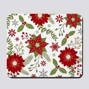 Modern vintage rustic Christmas floral Mousepad