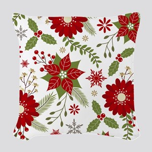 Modern vintage rustic Christmas floral Woven Throw