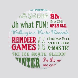 modern vintage christmas word collage Round Orname