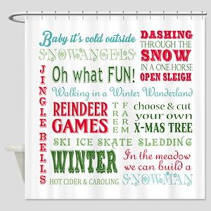 modern vintage christmas word collage Shower Curta