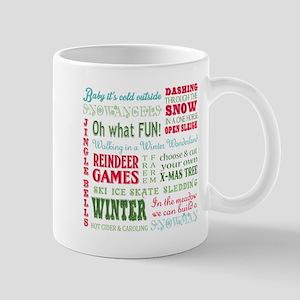 modern vintage christmas word collage Mugs
