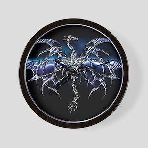 Blue Dragon on Lightning Sky Wall Clock