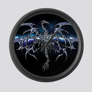 Blue Dragon on Lightning Sky Large Wall Clock