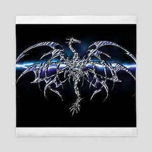 Blue Dragon on Lightning Sky Queen Duvet